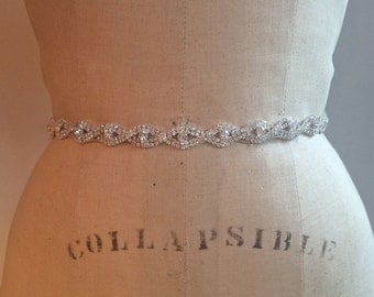 Art Deco Bridal Sash Belt-Bridesmaid Sash Belt-Small Rhinestone Beaded Bridal Belt Sash-Rhinestone Crystal Bridesmaid Sash/Belt-Wedding Sash