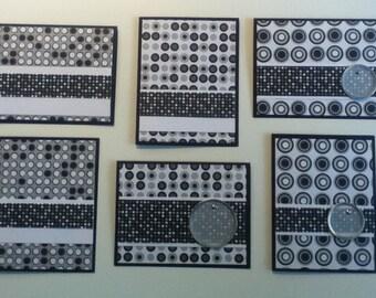 Black & White Circles Greeting Card Set (6)