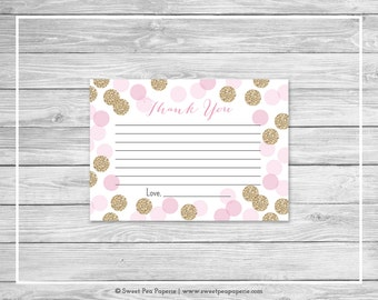 Pink and Gold Baby Shower Thank You Cards - Printable Baby Shower Thank You Cards - Pink and Glitter Baby Shower - Thank You Cards - SP106