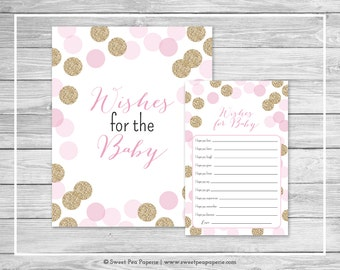 Pink and Gold Baby Shower Wishes for Baby Cards - Printable Baby Shower Wishes for Baby Cards - Pink and Gold Glitter Baby Shower - SP106