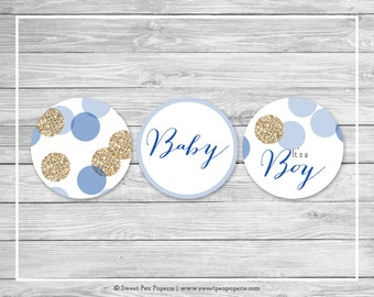 Blue and Gold Baby Shower Cupcake Toppers - Printable Baby Shower Cupcake Toppers - Blue and Gold Glitter Baby Shower - Toppers - SP107