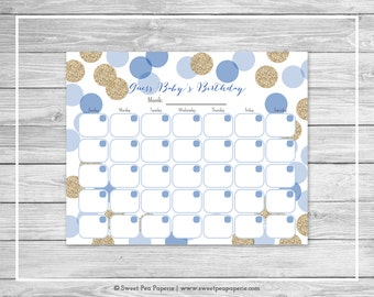 Blue and Gold Baby Shower Guess Baby's Birthday - Printable Baby Shower Guess Baby's Birthday Game - Blue and Glitter Baby Shower - SP107