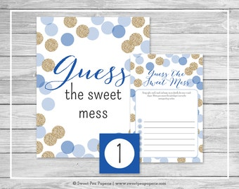 Blue and Gold Baby Shower Guess The Mess Game - Printable Baby Shower Guess The Sweet Mess Game - Blue and Gold Baby Shower - SP107
