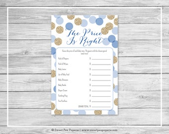 Blue and Gold Baby Shower Price Is Right Game - Printable Baby Shower Price Is Right Game - Blue and Gold Glitter Baby Shower - SP107