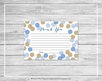 Blue and Gold Baby Shower Thank You Cards - Printable Baby Shower Thank You Cards - Blue and Glitter Baby Shower - Thank You Cards - SP107