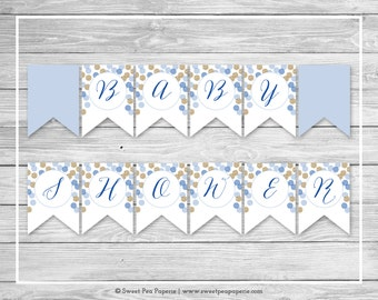 Blue and Gold Baby Shower Banner - Printable Baby Shower Banner - Blue and Gold Glitter Baby Shower - Baby Shower Banner - EDITABLE - SP107