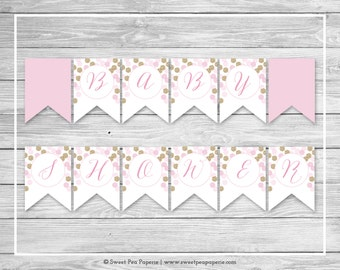 Pink and Gold Baby Shower Banner - Printable Baby Shower Banner - Pink and Gold Glitter Baby Shower - Baby Shower Banner - EDITABLE - SP106