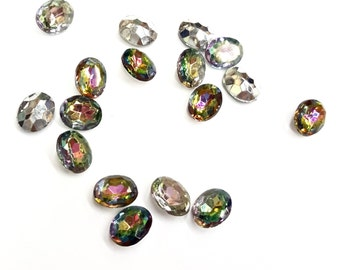 15 Pieces Iris Glass Stones, Vintage, 8x10mm Oval, Silver Foil on Back, Made in Western Germany