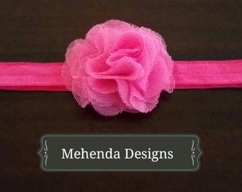 Newborn headband.Baby girl toddler headband. Baby girl hot pink flower headband