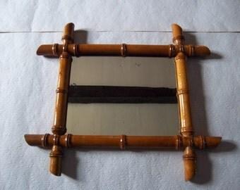 Bamboo mirror, French vintage, French décor – ancien miroir en bambou