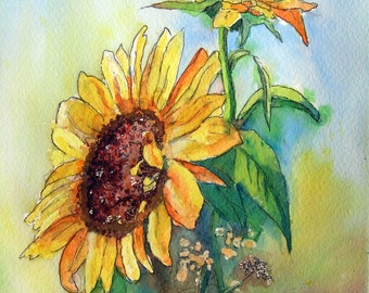 Sunflowers, original mixed media painting.
