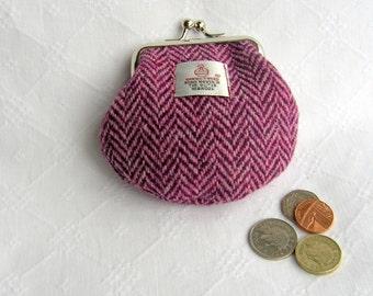Raspberry colour Harris Tweed coin purse.