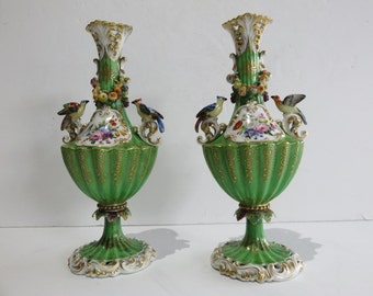 Pair Of Hollywood Regency Ornate Green Vases, Signed.