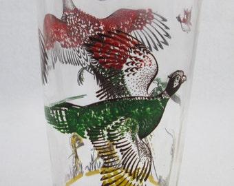 1 Mid Century Hazel Atlas Multi-Color Highball Glass - Pheasant/Hunting Drinking Glasses