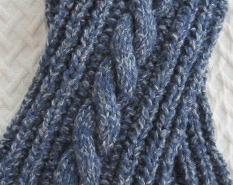 pdf Knitting Pattern -Twistout Tomboy chunky scarf for boys or girls