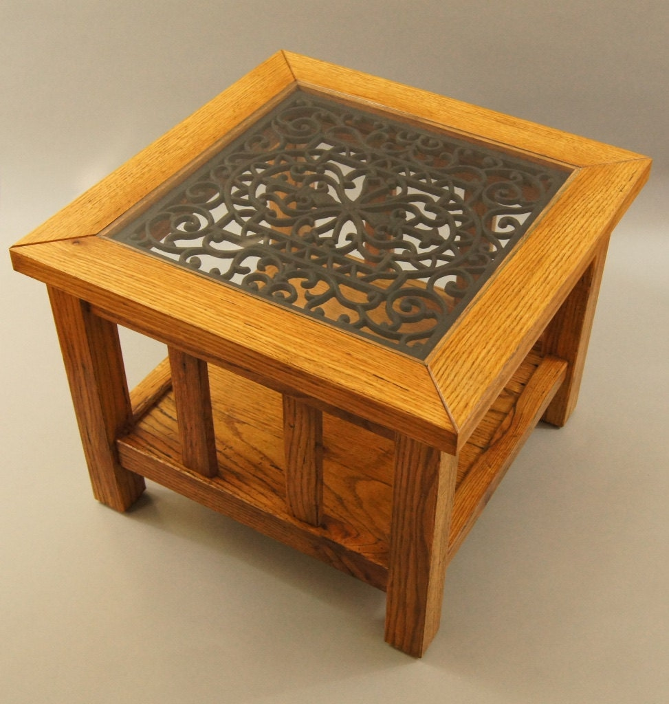 End table made with solid reclaimed oak victorian style for Cast iron table with glass top