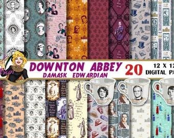Downton Abbey Digital paper, Downton Abbey clipart, Downton Abbey party, Violet Crawley, quotes, invitation, patterns, scrapbook, decor