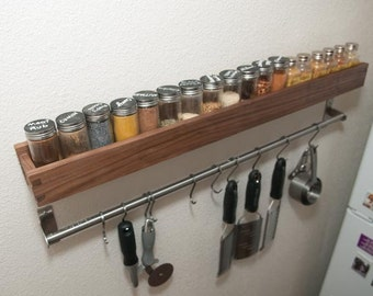 Walnut Wooden Spice Rack Modern Design (Built to Order)