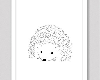 Hedgehog nursery print, digital download, black and white prints, woodland animals, hedgehog gifts, nursery decor, baby room decoration