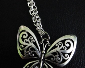 silver butterfly necklace- butterfly jewelry-butterfly pendant