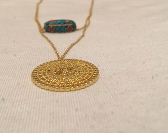 Gold filled double layer necklace