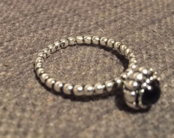 Sterling silver beaded ring similar to Pandora rings, beautiful