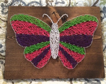 CUSTOM Butterfly String Art, bug or insect, nursery wall decor