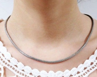 925 Sterling Silver Linear Design Necklace 16""
