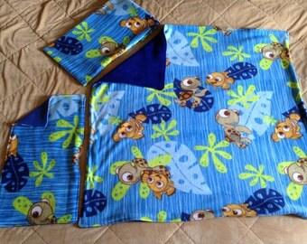 Baby Fleece Blanket Burp Rag and Pillow set
