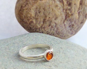 Sterling Silver Ring with Bezel Set Amber