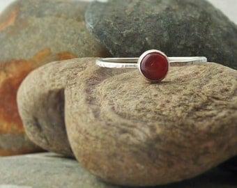 Sterling Silver Carnelian Skinny Ring