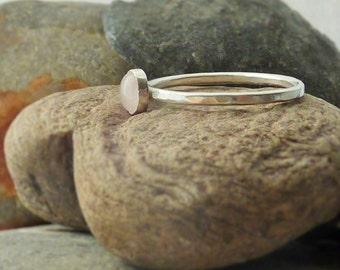 Sterling Silver Rose Quartz Skinny Ring