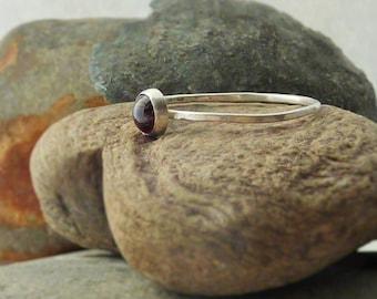 Sterling Silver Rhodolite Skinny Ring