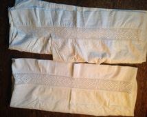 Antique White Handmade Pillowcases (2). Craft Cutter. Irish Estate.