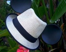 Mickey Mouse Ears. Mickey Mouse Fedora Hat. Original Disneyland Hat. Mickey Mouse Ears. Custom Disney Hat. Black tan