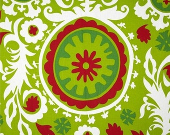 SALE Premier Prints Christmas Suzani Red Green White Holiday Yardage Fabric Vine Lime