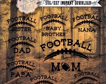 Football SVG Files, Mom, Dad, Grandpa, Grandma, Nana, Papa Football Cut Files, Fall Sport SVG Files Tee Shirt Football Stencil HTV Stencil