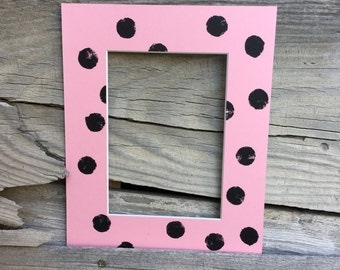 Unique 8x10 Mat with a 5x7 opening- Pink with Poke-a-dot