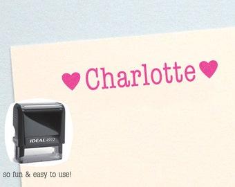 Heart Name Stamp, Personalized Kids Gift, Self Inking Name Stamp, Personalized Birthday Gift, Kids Name Stamp, Custom Name Stamp, HK207