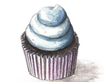 Cupcake Watercolor Print, Cupcake Art, 5x7, 8x10, 11x14, 13x19, Chocolate Cupcake with Blue Icing, Kitchen Art, Cafe Art, Bakery Art, Decor