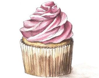 Cupcake Watercolor Print, Cupcake Art, 5x7, 8x10, 11x14, 13x19, Vanilla Cupcake with Pink Icing, Kitchen Art, Cafe Art, Bakery Art, Decor
