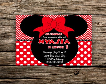 Minnie Mouse Red Invitation