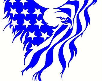 United States American Eagle Flag Vinyl Decal Flag