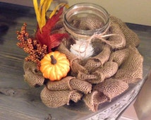 Burlap Candle Ring with jar