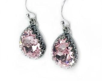 Sterling Silver Earrings Silver Jewelry PinkJewelry Light Pink Earrings Pink Bridesmaid Gift Dangle Classy Earring Baby Pink Earrings Drops