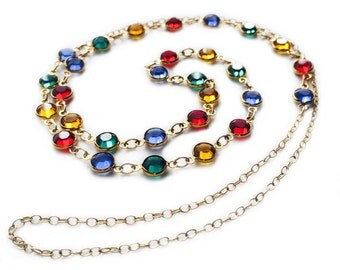 Fashion Necklace, Swarovski Elements Necklace, Gold Filled, Handmade Necklace, Gold Filled Bracelet Versatile Jewelry Multicolor, Eye Neckla
