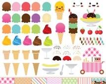 68 Ice Cream Clipart, Ice cream cone Clip art , ice cream graphics ,ice cream scoop clipart Kawaii Ice Cream Clipart kawaii dessert clip art
