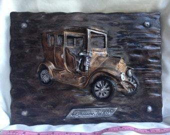 Ceramic 1911 Fiat Limousine Wall Plaque Vintage Automobile Wall Decoration