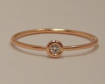 18k Rose Gold Diamond Bezel Ring
