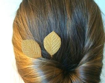 Soldered Gold Birch Leaf Hair Pins Leaf Bobby Pins Bridal Hair Pins Hair Accessory Leaf Hair Clips Wedding Bridal Hair Pins Gold Aspen Leaf